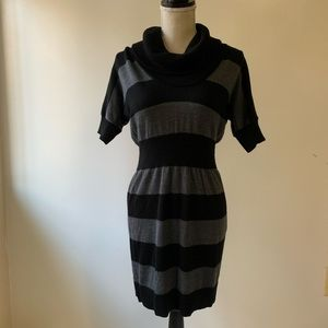 Anne Taylor LOFT Black and Gray Sweater Dress